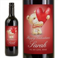 Valentines Love Bear Personalised Wine Gift