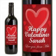 Red Burst Unique Personalised Valentines Wine Gift