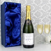 Personalised Engagement Hearts Champagne with Gift Box
