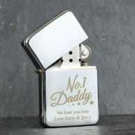 Personalised 'No.1 Daddy' Silver Lighter