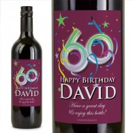 60th Birthday Personalised Birthday Gift Wine