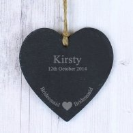 Personalised Bridesmaid Slate Heart Decoration