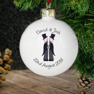 Personalised Male Wedding & Civil Partnership Bauble