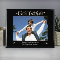 Personalised Godfather Black Glass 5x7 Photo Frame