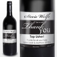 Personalised Red Wine Thank You Label