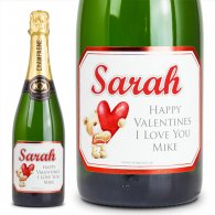Personalised Valentines Red Love Bear Champagne Gift