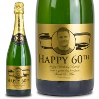 60th Birthday Present Gold Label Personalised Birthday Champagne