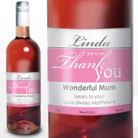 Personalised Rose Wine Thank You Label