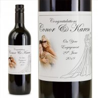 Silver Bride and Groom Personalised Engagement Wine
