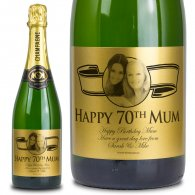 70th Birthday Present Gold Label Personalised Birthday Champagne