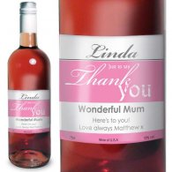 Personalised Rose Wine Thank You Label with Gift Box