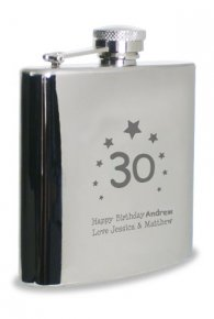 Personalised Hip Flask 30th Birthday Present for Boyfriend