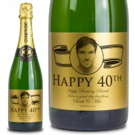 40th Birthday Gold Label Personalised Birthday Champagne
