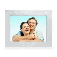 Personalised Silver 5x7 Silver Anniversary Landscape Photo Frame