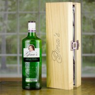 80th Birthday Gift Personalised Gordons Gin 70cl & Engraved Wooden Box
