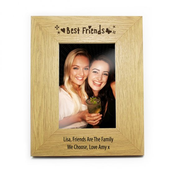 Personalised Best Friends 6x4 Wooden Photo Frame