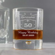 Personalised 50th Birthday Classic Whiskey Style Tumbler Glass