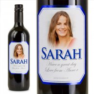 Blue Bevel Personalised Gift Labelled Wine