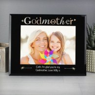 Personalised Godmother Black Glass 5x7 Photo Frame