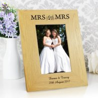 Personalised 6x4 Mrs & Mrs Wooden Photo Frame