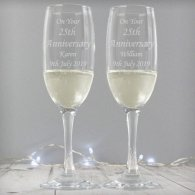 Wedding Engraved Pair of Celebration Champagne Flutes Gift