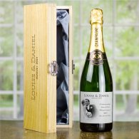 Personalised Wedding Champagne & Engraved Wooden Box