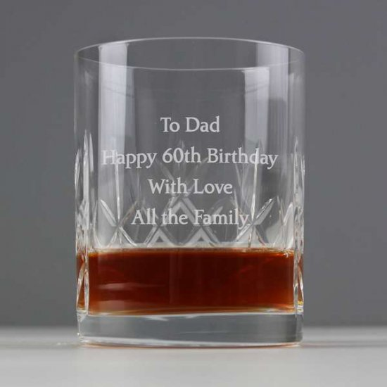 70th Birthday Present Personalised Crystal Whiskey Tumbler Larger Image