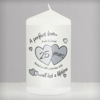 Personalised A Perfect Love Silver Anniversary Candle