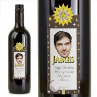 Sun Moon Stars Personalised Birthday Gift Labelled Wine