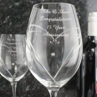 15th Anniversary Gift Little Hearts Swarovski Diamante 2x Wine Glasses