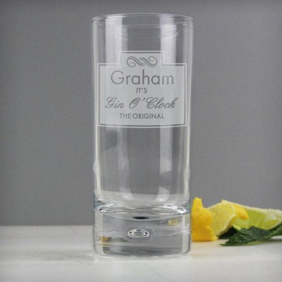 Personalised Engraved Gin//Tonic//Vodka BUBBLE HiBall Glass Image Any Message