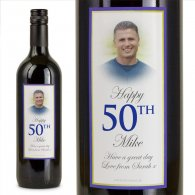 Electric Blue Personalised Gift Labelled Wine