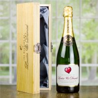 Gold Heart Personalised Wedding Champagne & Engraved Wooden Box