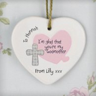 Personalised Godmother Ceramic Heart Decoration