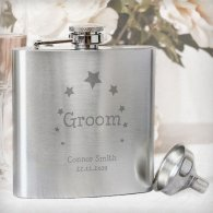 Personalised Stars Groom Hip Flask