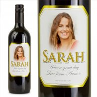Gold Bevel Personalised Gift Labelled Wine