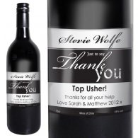 Personalised Red Wine Thank You Label with Gift Box