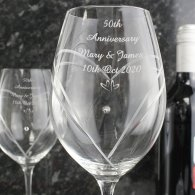 50th Anniversary Little Hearts Swarovski Diamante Wine Glasses Pair