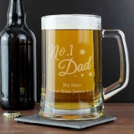 Personalised 'No.1 Dad' Glass Pint Stern Tankard