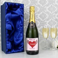 Personalised Big Heart Champagne Label with Gift Box