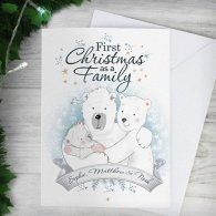 Personalised Polar Bear '1st Christmas As A Family' Card