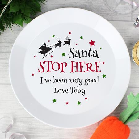 Santa Stop Here Plate