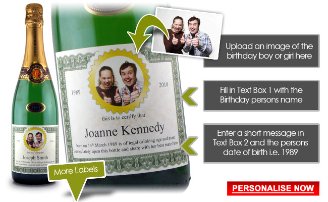 21st Birthday Present Idea Personalised Wine