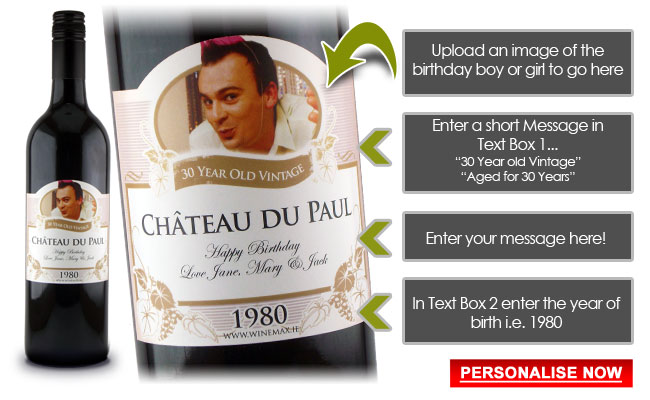 30th Birthday Gift Personalised Champagne Funny Idea Wine
