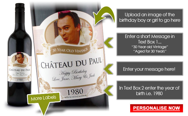 Birthday Presents Idea Personalised Wine
