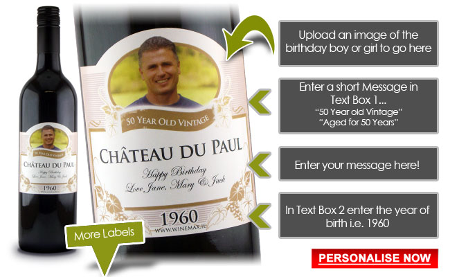 funny 50th Birthday Gift Idea Personalised Wine