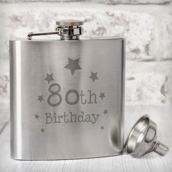 40th 50th 60th Birthday Gifts For Husband Dad Grandad: 80th Birthday Hip Flask [NP0102E43]