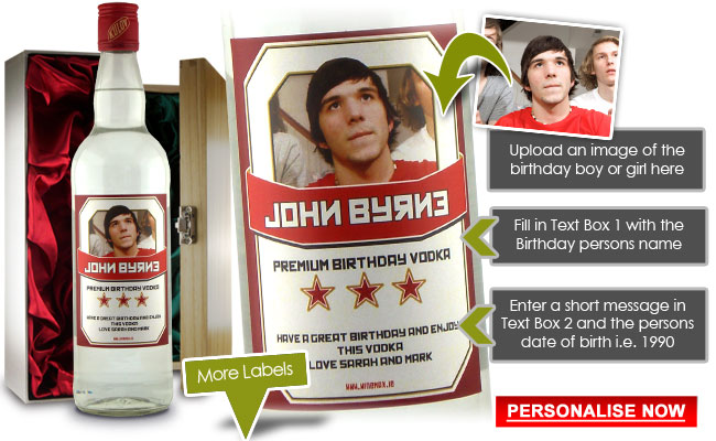 Personalised Vodka Birthday Present Gift