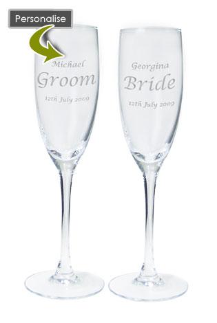 Wedding Engraved Celebration Champagne Flutes Pair Couples