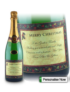 Holly Christmas Gifts Personalised Wine